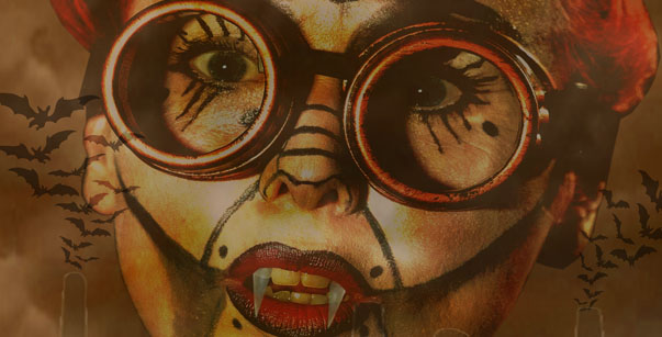 Bloodbank poster image a lady's face with fangs and old glasses