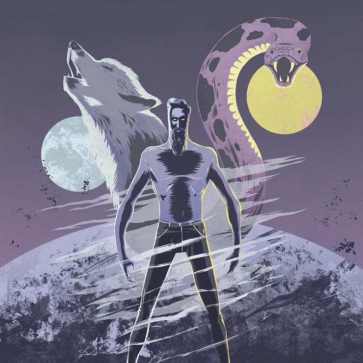 Animation image of a shirtless man standing in front of a wolf howling at the moon and a snake in front of the sun.