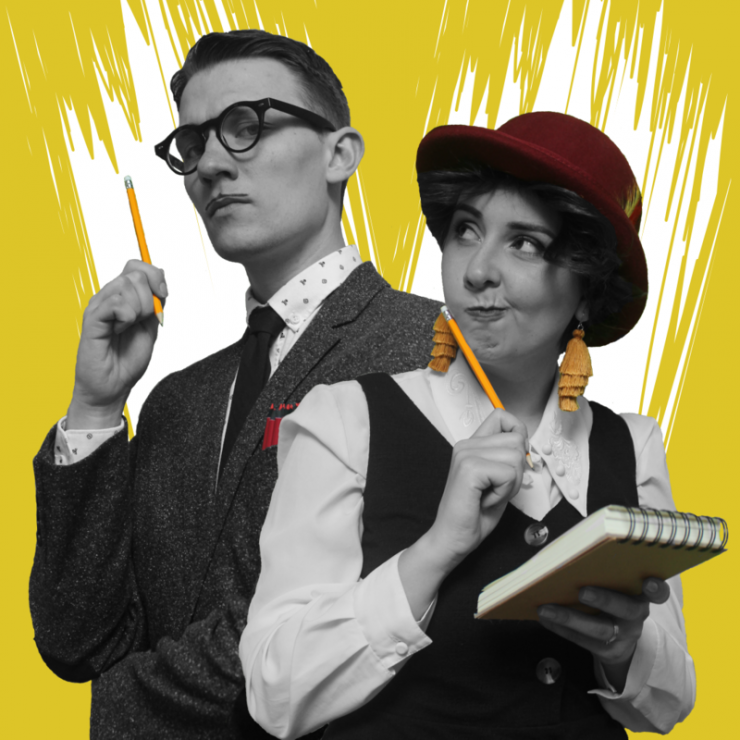 Two actors dressed as detectives in front of a yellow background.