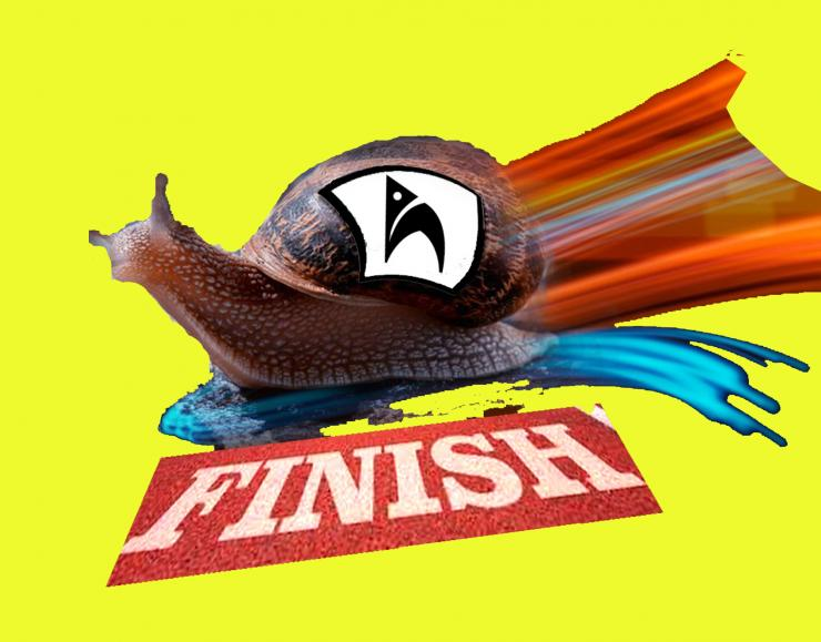 A goofy photo collage of an actual snail with a painted rainbow coloured trail crossing a photograph of a 'finish' line, pasted against a bright solid-yellow background. Pasted on the snail's shell is the Holden Street Theatres Logo of a black and white church arch.