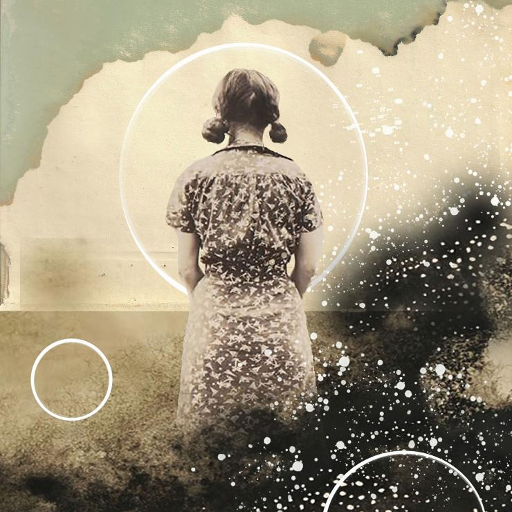 A young girl stands in the centre of the frame with her back facing us. Her hair is in pigtails and she wears an old-fashioned, patterned smock. She is immersed in a landscape of large clouds overlayed with mist, speckles and circles, it is a dreamy landscape.