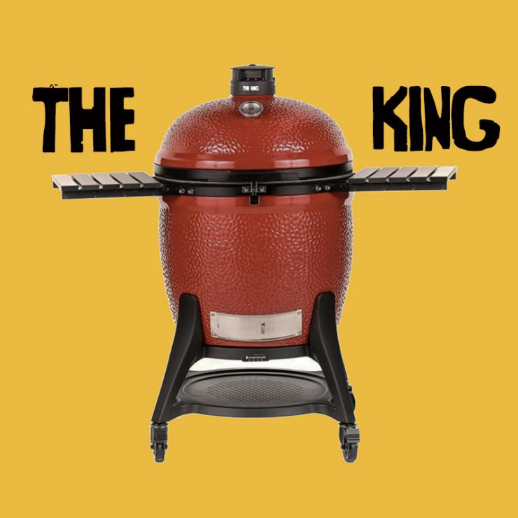 Red BBQ in front of yellow background with 'The King' written in black.